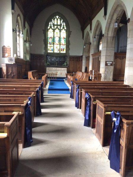 church wedding pew ends