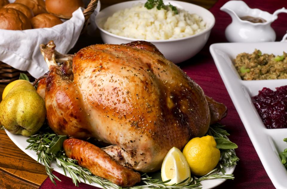 herb fed christmas turkey dinner