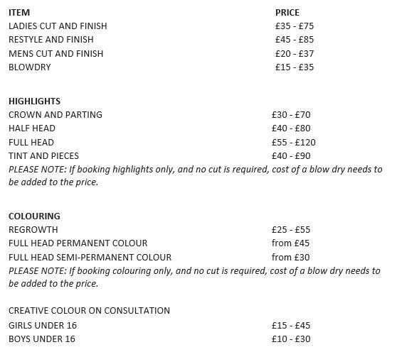 hair cut prices in harrogate