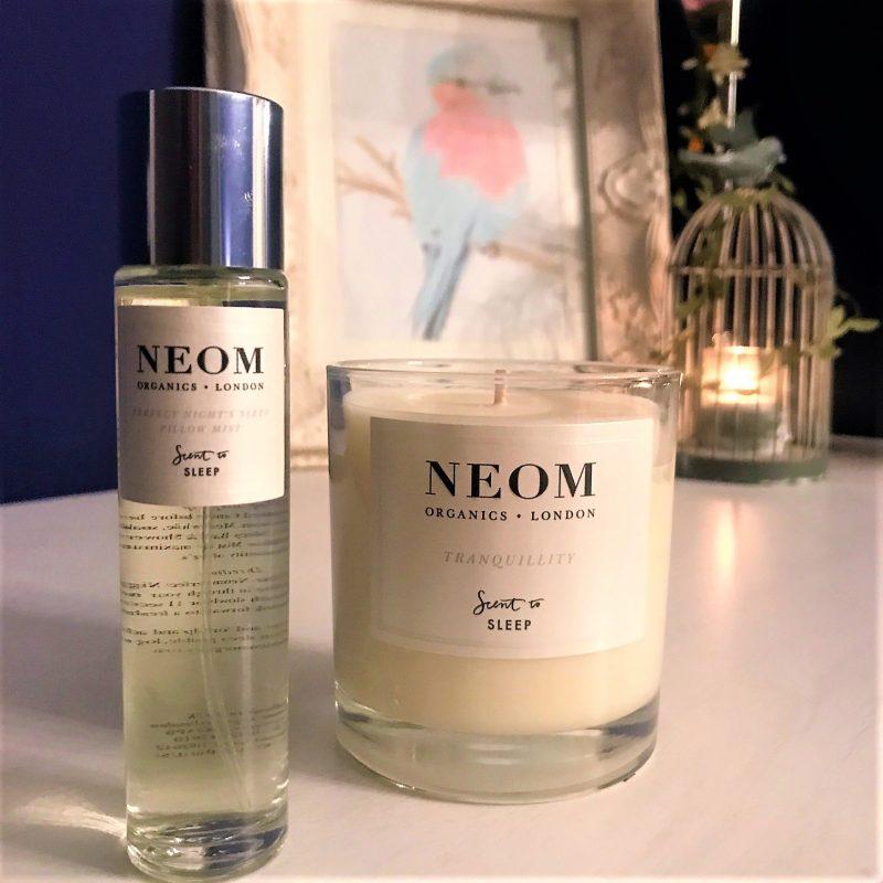 neom candle and sleep scent